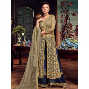 Stylee Lifestyle Beige Net Embroidered Dress Material (1819)