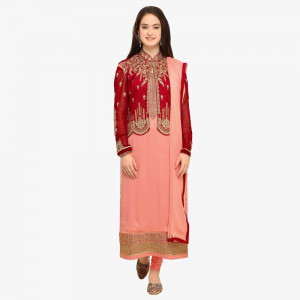 Stylee Lifestyle Peach Satin Embroidered Dress Material (1743)