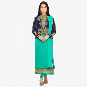 Stylee Lifestyle Turquoise Satin Embroidered Dress Material (1744)
