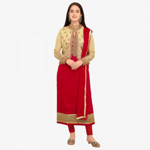 Stylee Lifestyle Red Satin Embroidered Dress Material (1747)