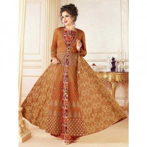 Stylee Lifestyle Rust Rayon Embroidered Gown (1715)