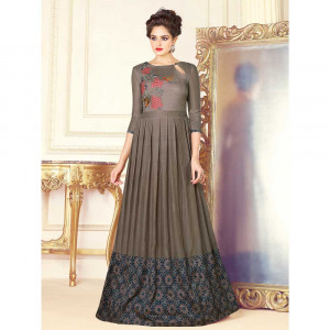 Stylee Lifestyle Grey Rayon Embroidered Gown (1716)