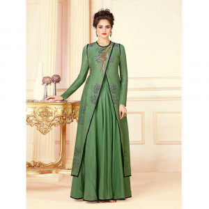 Stylee Lifestyle Women's Rayon Embroidery Gown (1717, Green, Free Size)