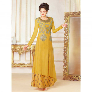 Stylee Lifestyle Yellow Rayon Embroidered Gown (1718)