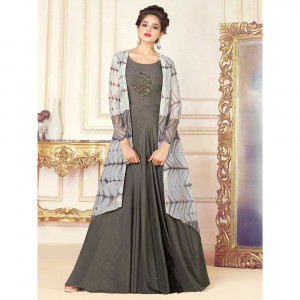 Stylee Lifestyle Women's Rayon Embroidery Gown (1719, Grey, Free Size)
