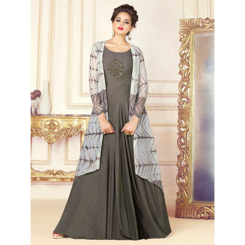 be1bfdf7ea1dba Buy Stylee Lifestyle Women's Rayon Embroidery Gown (1719, Grey, Free Size)  online at best price in Nepal - Reddoko . com