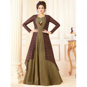 Stylee Lifestyle Olive Green Rayon Embroidered Gown (1722)