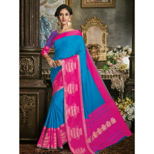 Stylee Lifestyle Blue Art Silk Jacquard Saree (1703)