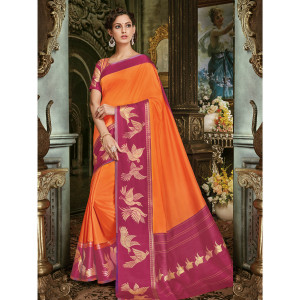 Stylee Lifestyle Blue Art Silk Jacquard Saree (1704)