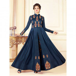 Stylee Lifestyle Navy Blue Rayon Embroidered Gown (1721)