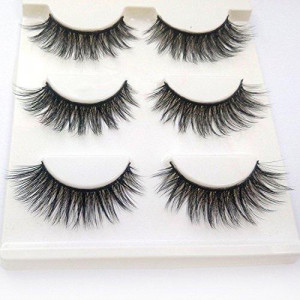 3D Fake Eyelashes Makeup Hand-made Dramatic Thick Crisscross Deluxe False Lashes Black Nature Fluffy Long Soft Reusable 3 Pair Pack