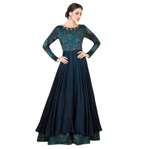 Stylee Lifestyle Navy Blue Satin Embroidered Gown (1315)