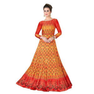 Stylee Lifestyle Orange Satin Embroidered Gown (1318)