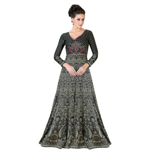 Stylee Lifestyle Black Satin Embroidered Gown (1320)