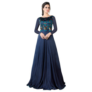 Stylee Lifestyle Blue Satin Embroidered Gown (1324)