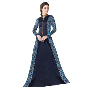 Stylee Lifestyle Navy Blue Satin Embroidered Gown (1325)