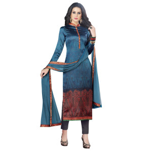 Stylee Lifestyle Navy Blue Satin Printed Dress Material (1360)