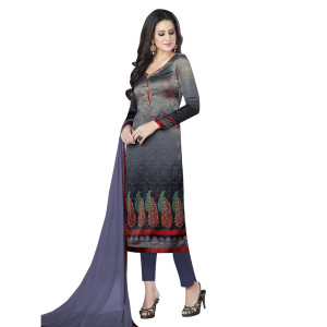 Stylee Lifestyle Grey Satin Printed Dress Material (1362)