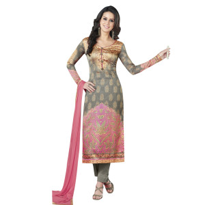 Stylee Lifestyle Grey Satin Printed Dress Material (1363)