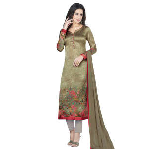 Stylee Lifestyle Olive Green Satin Printed Dress Material (1365)