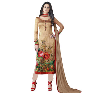 Stylee Lifestyle Gold Green Satin Printed Dress Material (1366)