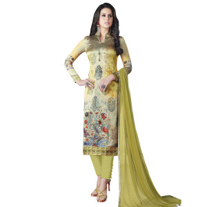 Stylee Lifestyle Green Satin Printed Dress Material (1368)