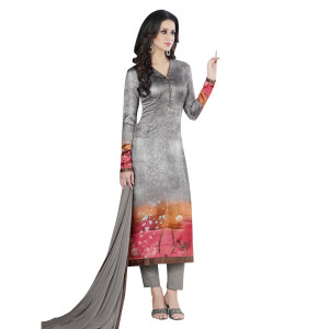 Stylee Lifestyle Grey Satin Printed Dress Material (1369)