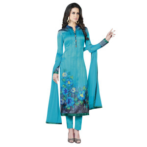 Stylee Lifestyle Blue Satin Printed Dress Material (1370)