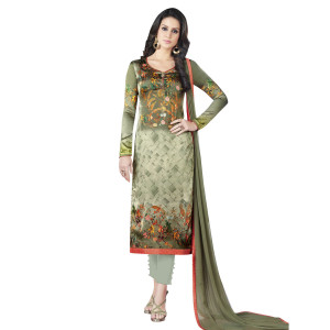 Stylee Lifestyle Olive Green Satin Printed Dress Material (1371)