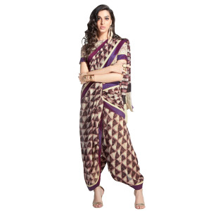 Stylee Lifestyle Purple Handloom Silk Printed Saree (1405)