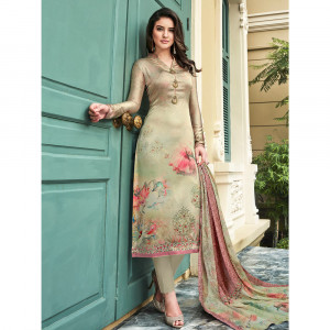 Stylee Lifestyle Beige Satin Printed Dress Material - 1861