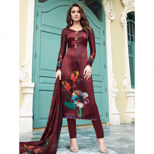 Stylee Lifestyle Maroon Satin Printed Dress Material - 1862