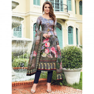 Stylee Lifestyle Multi Satin Printed Dress Material - 1863