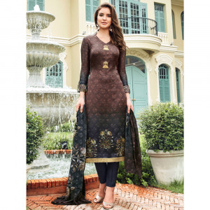 Stylee Lifestyle Brown Satin Printed Dress Material - 1864
