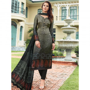 Stylee Lifestyle Grey Satin Printed Dress Material - 1865
