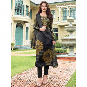 Stylee Lifestyle Grey Satin Printed Dress Material - 1866