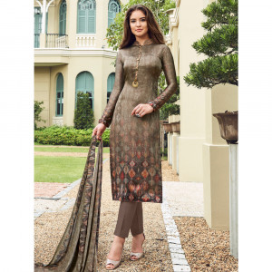 Stylee Lifestyle Brown Satin Printed Dress Material - 1867