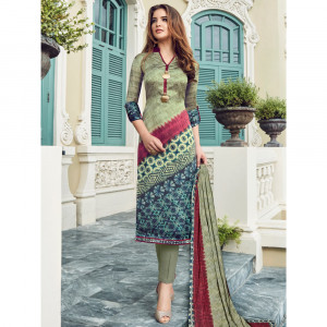Stylee Lifestyle Multi Satin Printed Dress Material - 1870