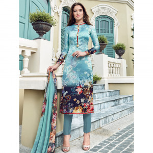 Stylee Lifestyle Sky Blue Satin Printed Dress Material - 1871