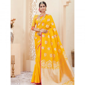 Stylee Lifestyle Yellow Banarasi Silk Jacquard Saree