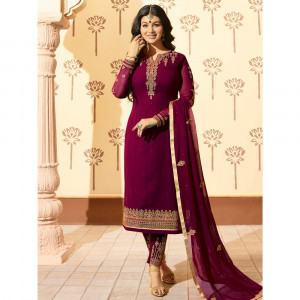 Stylee Lifestyle Wine Georgette Embroidered Dress Material - 1872