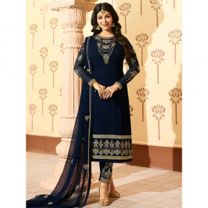 Stylee Lifestyle Navy Blue Georgette Embroidered Dress Material - 1873