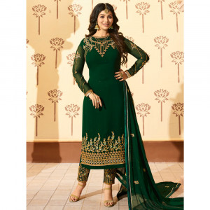Stylee Lifestyle Green Georgette Embroidered Dress Material - 1875