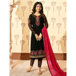 Stylee Lifestyle Black Georgette Embroidered Dress Material - 1876