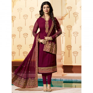 Stylee Lifestyle Beige Georgette Embroidered Dress Material - 1877