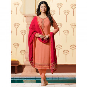 Stylee Lifestyle Peach Georgette Embroidered Dress Material -