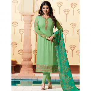 Stylee Lifestyle Green Georgette Embroidered Dress Material - 1882