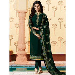 Stylee Lifestyle Green Georgette Embroidered Dress Material - 1884