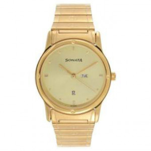 Sonata 7023YM08 Gold Dial Analog Watch For Men