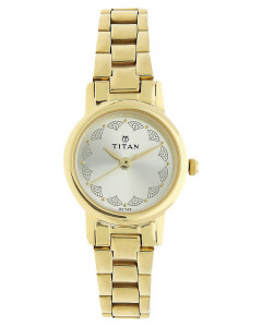 Titan Golden Dial Analouge Stainless Steel Strap Watch For Women - 917Ym12